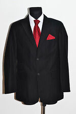 MENS STONES BLAZER SUIT JACKET COTTON BLACK STRIPED FITTED SIZE 40 IN EXC