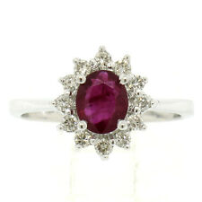 NEW 14K White Gold 0.90ctw Oval Ruby Solitaire Round Diamond Petite Halo Ring