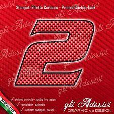 Adesivo Stickers NUMERO 2 moto auto cross gara Carbon Effect Red 5 cm