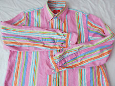 Vtg Pink Rainbow Striped Long Sleeve Casual Shirt - Mens Small Cotton Retro