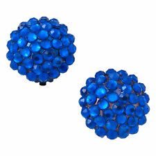 Cobalt Blue Rhinestone Studded Round Button Clip On Earrings