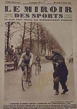 MIROIR DES SPORTS - L'ARRIVEE D'ANDRE LEDUCQ VAINQUEUR DE PARIS ROUBAIS 1928