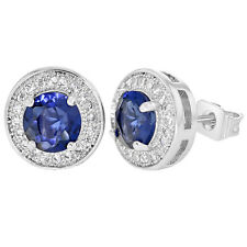 Rhodium Plated Round Navy Blue & Clear CZ Bezel Stud Earrings