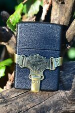 Zippo Lighter - Harley Davidson - Brass Bootstrap - Black Crackle - 236HD H215