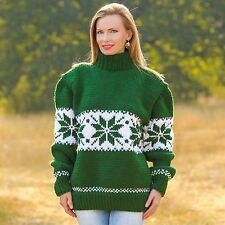 SUPERTANYA Hand Knitted Sweater Norwegian GREEN Boutique Cowichan Wool Pullover