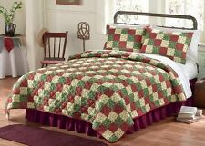 Old Fashioned Country Pine Tree Holly Patchwork Coverlet Bed Cover Quilt No Sham