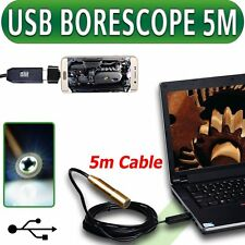 IP67 Metal Inspection Camera USB Endoscope Borescope Pipe 5M Cable Android