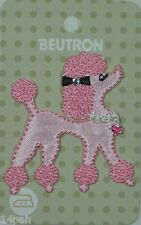 BEUTRON Iron on Motif 1 x Pink Poodle w Diamante NEW 9312919042677 BM6335