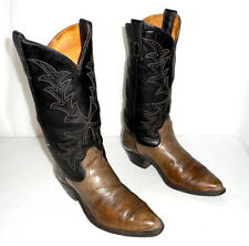 Texas Cowboy Boots Black and Grey Mens size 9 EE / womens 10.5 wide width Shoes