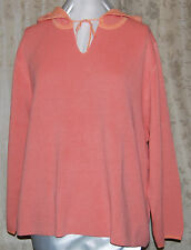 MODERN SOUL SO PRETTY PULLOVER HOODED SWEATER WITH TIE MELON QVC 3X NEW W/TAGS