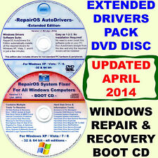 WINDOWS XP/Vista/7/8/8.1 DISK PACK: Repair & Recovery BOOT CD + Drivers DVD Ext.