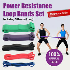BARGAIN SET OF 5 HEAVY DUTY RESISTANCE BAND POWER GYM FITNESS EXERCISE YOGA