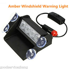 4 LED Car Truck Amber Emergency Hazard Warning Windshield Sucker Strobe Lights