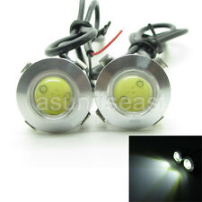 2 x White DC12V 3W 18mm Push Snap in Eagle Eye Car LED DRL Light Slim Silver 12V
