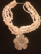 "Unique Multi-Strand Freshwater Pearl Statement Necklaces in Pink ~18"" L New"