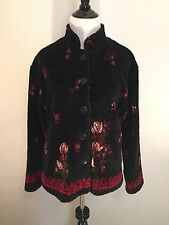 Women's Straight Down Clothing Co Jacket Fuzzy Black Floral Pattern Size Medium