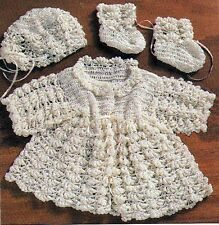 Vintage CROCHET PATTERN to MAKE Doll Bear Bullion Jacket Bonnet Bootees 12 inch