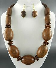 Brown Wood Wooden Bead Necklace Earring Set