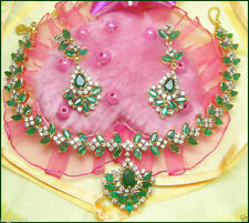 18.70ct Diamond & Emerald 14k Gold Necklace Set Including With 22k Gold Chain