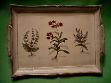 Vintage ITALY Italian small wooden serving tray w/ three colorful plant species.