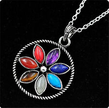 Silver Plated 7 Stone Beads Sun Of Flower Healing Point Chakra Pendant Necklace