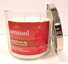 BATH & BODY WORKS SENSUAL SANDALWOOD FIG SCENTED 3 WICK CANDLE 25-45 HOURS NEW!