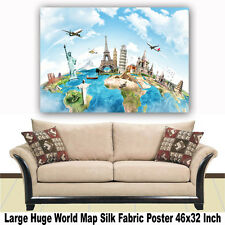 "Poster World Map Large Huge Giant Wall Print Silk Fabric Decor 46""x32"" Inch T10"
