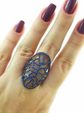 Turkish Handmade 925 Sterling Silver Fashion Jewelry Sapphire Ring Size 9 R1985