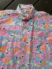 KEY WEST CAMOUFLAGE pink flamingos short sleeve tropical button front shirt XL