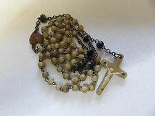 † HTF GENUINE VINTAGE IRISH HORN ROSARY†  PB315-4
