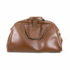 VINTAGE BROWN FAUX LEATHER WEEKEND TRAVEL BAG HOLDALL