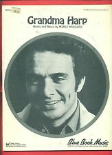 "MERLE HAGGARD ""GRANDMA HARP "" PIANO/VOCAL/GUITAR SHEET MUSIC 1972 VINTAGE RARE!"