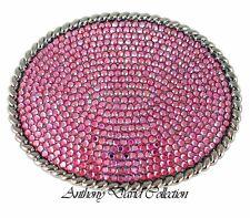 Ladies Pink Aurora Borealis Crystal Belt Buckle with genuine Swarovski Crystals