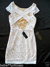 NWT bebe white beige nude cross cutout back lace skirt top sexy dress L 10 hot