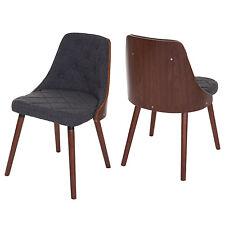 2x chaise de salle à manger Osijek, aspect noix, bois cintré ~ tissu, gris