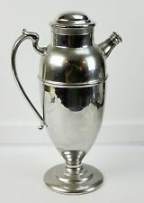 "Large Chrome Metal Cocktail Drink Shaker With Handle And Closed Spout 12"" Tall"