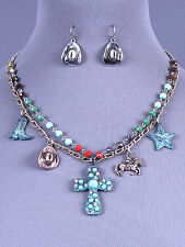 Western Charm Patina Cross Necklace and Earring Set