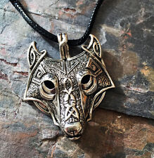Antique Silver Plt Hollow Eye Ornate Wolf  Pendant Necklace Viking Norse Slavic