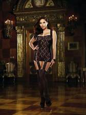 Plus Size Women Rose Floral Sheer Stretch Lace Garter Dress Lingerie