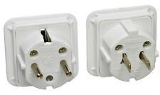 UK AC 3 Pin Plug To USA Canada & Euro Schuko 2 Pin Dual Travel Adaptor Kit,White