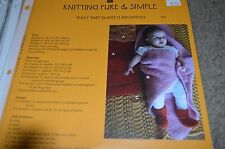 Knitting Pure & Simple Pattern 281 Bulky Baby Blanket & Booties
