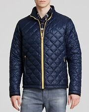 NWT Barbour Navy Blue w/ contrasting Yellow Large 42-44 NYLON quilted jacket