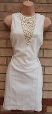 MISS SELFRIDGE WHITE BEADED MESH CUT OUT SIDES BANDAGE BODYCON PARTY DRESS M 12