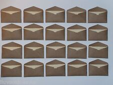20 Kraft brown mini envelopes and 20 cream index card inserts