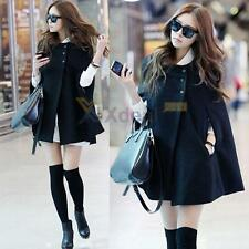 Fashion Womens Batwing Cape Wool Poncho Jacket Winter Warm Cloak Coat Tops New