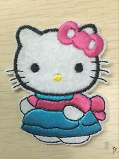 1 pcs Blue dress Hello Kitty Sewing Notions Patch Iron On Embroidered Appliques