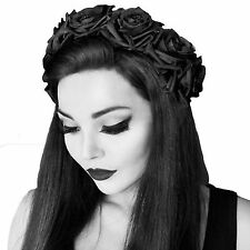Celestial Black Rose Hairband - Gothic Rose Crown