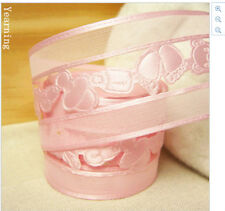 Baby Shower Baby Feet Milk Bottle Pink Organza Ribbon 38mm wide 1m long