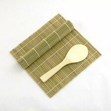 Green/Green Bamboo Sushi Mat With Rice Paddle Set S-3676