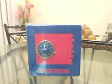 Blue and Red Frontier Metal Safe Box Piggy Money Bank w/Combination Lock